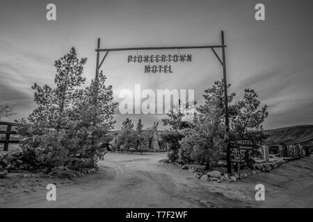 Pioneertown Motel in California in the evening - CALIFORNIA, USA - MARCH 18, 2019 - Stock Photo