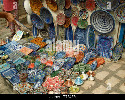 Traditional plates on a Sidi Bou Said street in Tunisia - Stock Photo