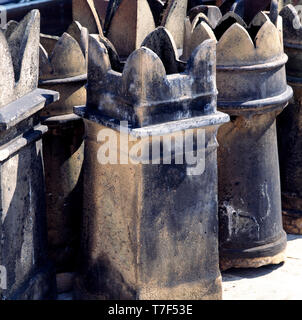Group of Victorian chimney pots - Stock Photo