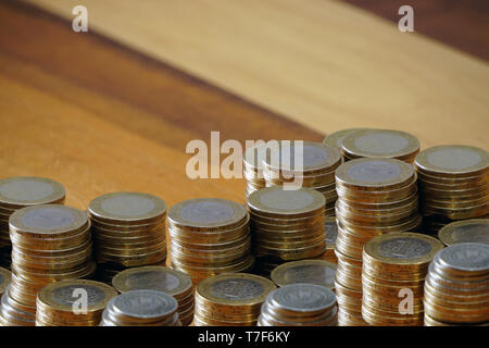 Turkish coin liras and purse on wooden background cleavage for the text available - Stock Photo