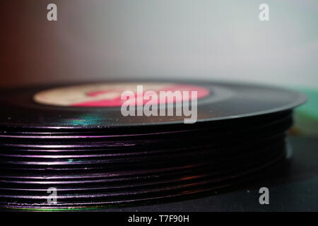 Stacked vinyl collection close up view - Stock Photo