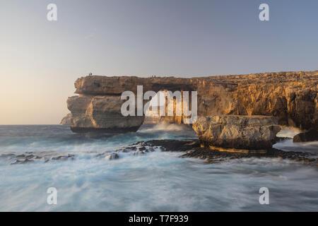 Malta, Gozo, Dwejra Azure Window Rock Arch - Stock Photo