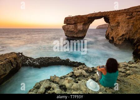 Malta, Gozo, Dwejra Azure Window Rock Arch (MR) - Stock Photo