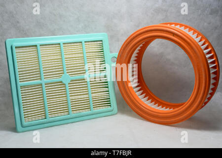 Assorted hepa filters on isolated background close up view - Stock Photo