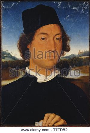 Hans-Memling-Portrait of an Unknown Man with a Letter - Stock Photo