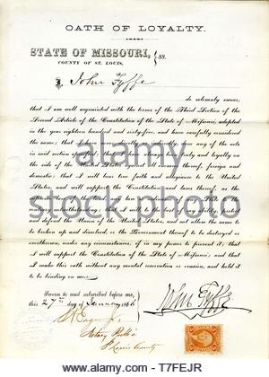 J.-Fyffe-Swears oath of allegiance to the Government of the United States and the State of Missouri - Stock Photo
