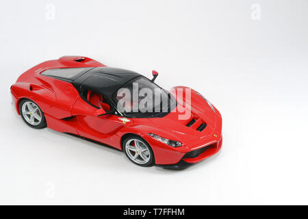 7 December 2016, Eskisehir, Turkey. Assorted diecast model cars on white isolated background - Stock Photo