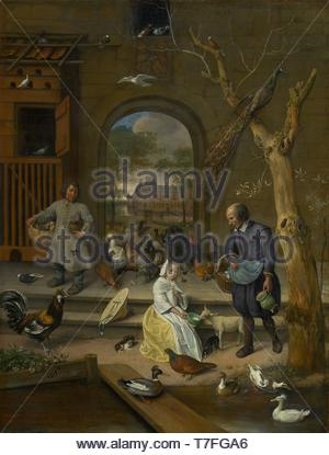 Jan-Havickszoon-Steen-Portrait of Jacoba Maria van Wassenaer, known as The poultry yard - Stock Photo