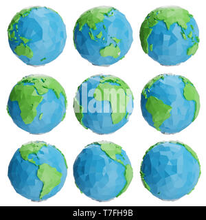 Set of low poly earth globe illustration. Collection polygonal globe icon, low poly design. Creative low poly origami globe. 3D Rendering - Stock Photo