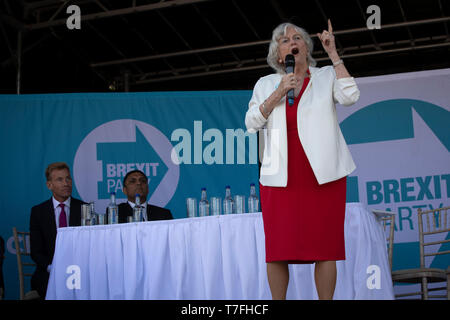 Former Conservative party government minister Ann Widdecombe speaking on stage at a Brexit Party event in Chester, Cheshire. The keynote speech was given by the Brexit Party leader Nigel Farage MEP. The event was attended by around 300 people and was one of the first since the formation of the Brexit Party by Nigel Farage in Spring 2019. - Stock Photo