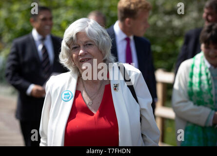 Former Conservative party government minister Ann Widdecombe arriving to speak on stage at a Brexit Party event in Chester, Cheshire. The keynote speech was given by the Brexit Party leader Nigel Farage MEP. The event was attended by around 300 people and was one of the first since the formation of the Brexit Party by Nigel Farage in Spring 2019. - Stock Photo
