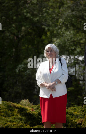 Former Conservative party government minister Ann Widdecombe waiting to speak on stage at a Brexit Party event in Chester, Cheshire. The keynote speech was given by the Brexit Party leader Nigel Farage MEP. The event was attended by around 300 people and was one of the first since the formation of the Brexit Party by Nigel Farage in Spring 2019. - Stock Photo
