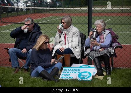 Supporters gathering at a Brexit Party event in Chester, Cheshire where the new party's leader Nigel Farage gave the main address. Mr Farage was joined on the platform by his party colleague Ann Widdecombe, the former Conservative government minister. And other prominent party members. The event was attended by around 300 people and was one of the first since the formation of the Brexit Party by Nigel Farage in Spring 2019. - Stock Photo