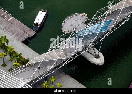 The Helix Bridge, Marina Bay, Singapore, South East Asia - Stock Photo
