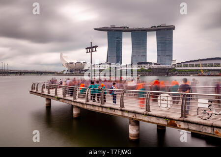 The Marina Bay Sands Hotel Viewed From The Merlion Park, Singapore, South East Asia - Stock Photo