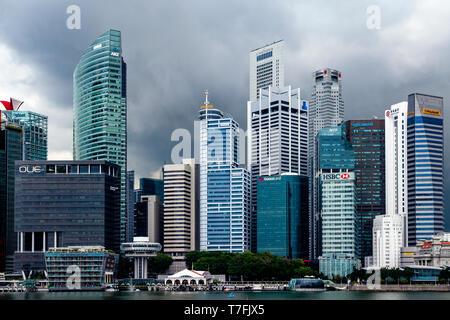 The Singapore Skyline From Marina Bay, Singapore, South East Asia - Stock Photo