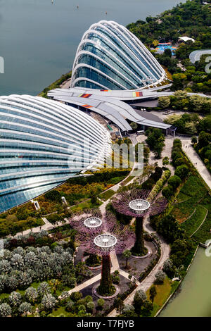 The Flower Dome, Cloud Forest and Silver Garden At The Gardens By The Bay, Singapore, South East Asia - Stock Photo