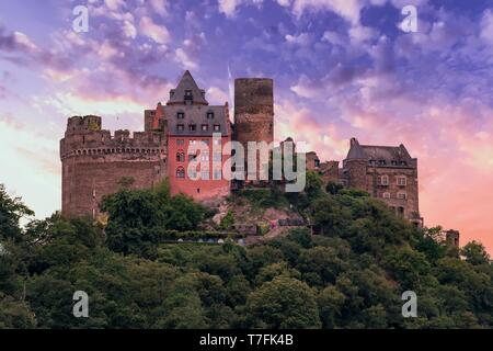 Schonburg castle is located on the Upper Middle Rhine Valley in Germany - Stock Photo