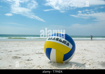 A volleyball on the beach at Gulf State Park, Gulf Shores, Alabama, USA. - Stock Photo