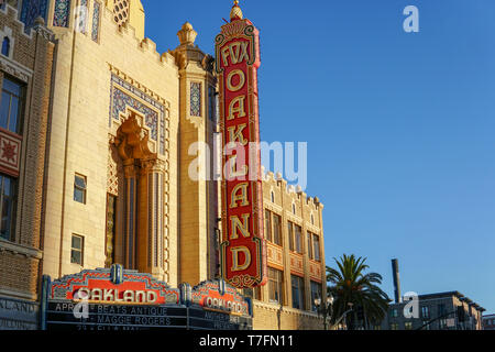 OAKLAND, CALIFORNIA -- APRIL 13, 2019: The morning sun rises on the iconic Fox Oakland Theatre, a concert hall and former movie theater in Downtown Oa - Stock Photo