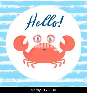 Illustration of a cute smiling crab. Striped background with funny sea animal for poster in the nursery or other children's design. Vector card. - Stock Photo