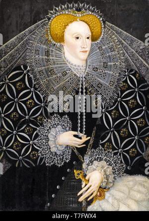 Portrait of Queen Elizabeth I (1533-1603), painting of the British School, c. 1595 - Stock Photo