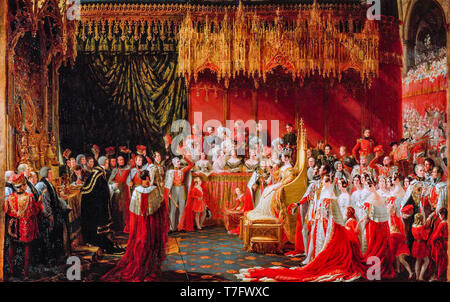 Coronation of Queen Victoria in Westminster Abbey 28 June 1838, painting by Sir George Hayter, 1838 - Stock Photo