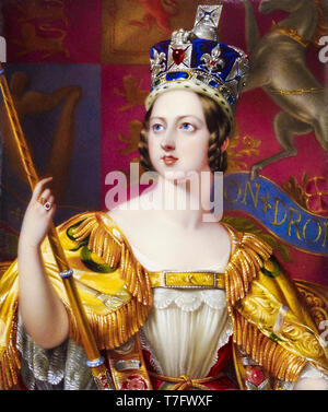 Queen Victoria in her coronation robes with the Imperial State Crown, portrait, 1843 - Stock Photo
