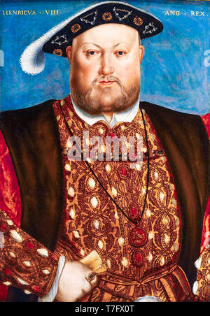 King Henry VIII (1491-1547) portrait painting, After Hans Holbein, 16th century - Stock Photo