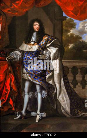 Louis XIV, King of France in Coronation Portrait, Jean Nocret, 1668 - Stock Photo