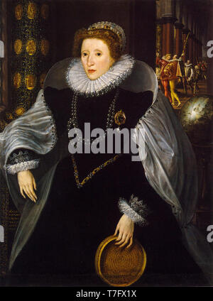 Sieve Portrait of Queen Elizabeth I, Quentin Metsys the Younger, 1583 - Stock Photo
