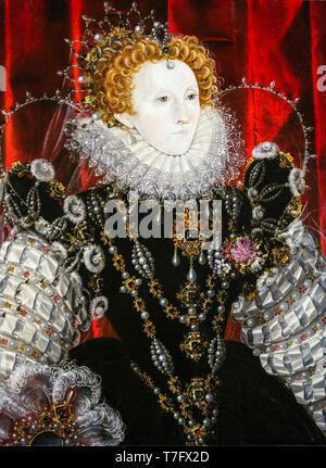 Queen Elizabeth I (1533-1603), portrait, attributed to Nicholas Hilliard, c. 1576 - Stock Photo