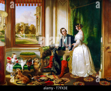 Edwin Henry Landseer, Queen Victoria and Prince Albert family portrait painting at home at Windsor Castle in Berkshire, c. 1840 - Stock Photo