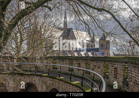 Leiden, The Netherlands, March 5, 2019: view inside the historical Burcht (fortress) with Hooglandse Kerk church in the background - Stock Photo