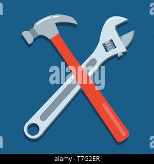 hammer  and adjustable wrench vector symbol illustration - Stock Photo
