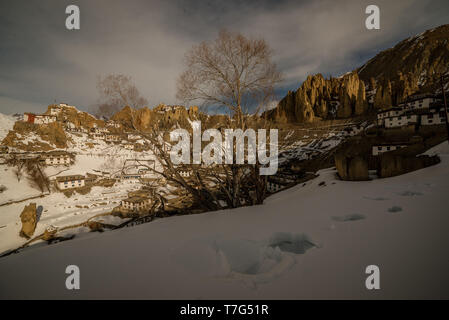 Sunrise in Himalayan Village in Mountain valley during sunrise. Natural Winter landscape in Spiti Valley - Stock Photo