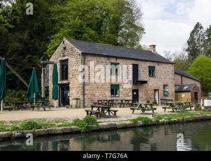 Café at Cromford Canal, Derbyshire Peak District UK - Stock Photo