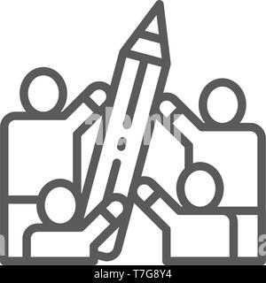 People hold big pencil line icon. - Stock Photo
