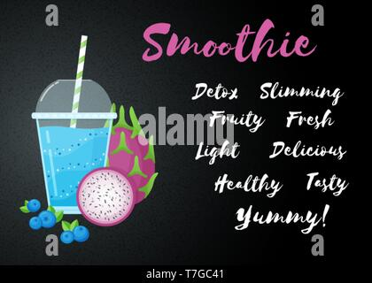Blue smoothie fruit cocktail flat vector illustration. Big sign Smoothie on black background, glass and straw, filled with sweet tasty blueberry smoothies cocktail for natural restaurant food banner - Stock Photo