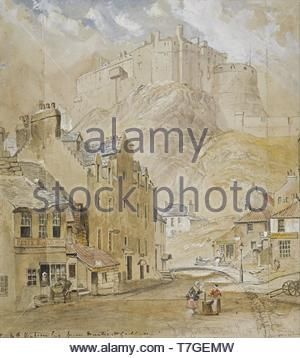 Horatio-McCulloch-Edinburgh Castle from the Foot of the Vennel, 1845 - Stock Photo