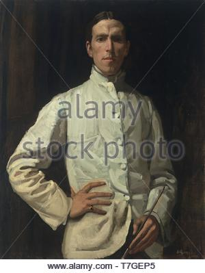 Hugh-Ramsay-Self-portrait in white jacket - Stock Photo