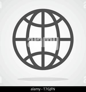 Globe icon in flat style. Vector illustration. Symbol of Earth. Planet icon. World symbol isolated - Stock Photo