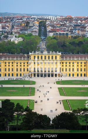 Schonbrunn Austria, view of the parterre garden and baroque exterior of the south side of the Schloss Schönbrunn palace in Vienna, Austria. - Stock Photo