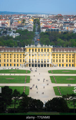 Palace Schonbrunn, view of the parterre garden and baroque exterior of the south side of the Schloss Schönbrunn palace in Vienna, Austria. - Stock Photo