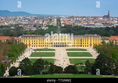 Schonbrunn Vienna, view of the parterre garden and baroque exterior of the south side of the Schloss Schönbrunn palace in Vienna, Austria. - Stock Photo
