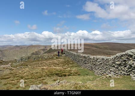 The View North West from the Summit of Kentmere Pike, Lake District, Cumbria, UK - Stock Photo