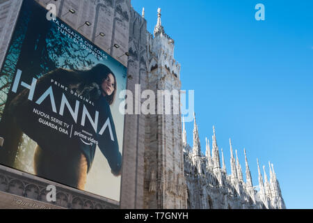 Advertising board for Amazon Prime on the exterior of Milan Cathedral, Piazza del Duomo, Milan, Italy - Stock Photo