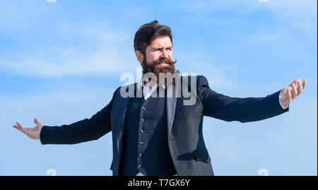 Man bearded proud himself sky background. Superiority and power. Feeling undefeated. Proud of himself. Self proud and narcissistic. Hipster bearded attractive enjoy freedom. Guy enjoy top achievement. - Stock Photo