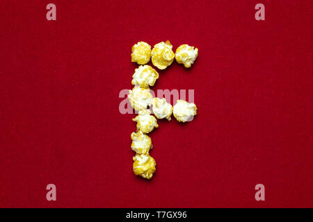 English alphabet from cinema popcorn  Letter D  Red