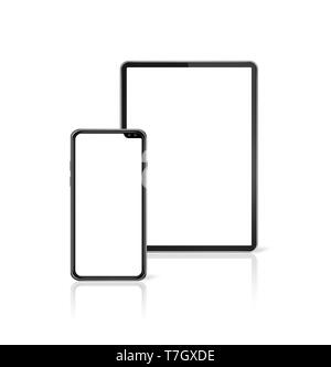 Tablet and smartphone set mockup isolated on white background with blank screens. 3D render - Stock Photo